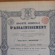 Coleccionismo Acciones Españolas: MADRID: SOCIEDAD GENERAL DE SANEAMIENTO (1895). Lote 252236970