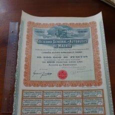 Collectionnisme Actions Espagne: ACCIÓN DE LA SOCIEDAD GENERAL DE AUTOBUSES DE MADRID, 1922. Lote 232936170