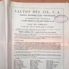 Coleccionismo Acciones Españolas: SALTOS DEL SIL / FOLLETO SUSCRIPCION DE OBLIGACIONES / BOLETIN DE SUSCRIPCION 1958. Lote 233731660