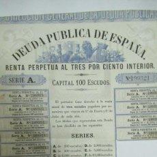 Colecionismo Ações Espanholas: + DEUDA PUBLICA ESPAÑOLA 1870 EN ESCUDOS MONEDA ORO ESPAÑOLA ANTERIOR PESETA. ACCIÓN Nº 199321. Lote 233777665