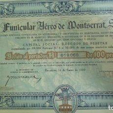 Collezionismo Azioni Spagnole: + FUNICULAR AEREO DE MONTSERRAT. ACCION AÑO 1929. RARA . NO FERROCARRIL NUMERO19060 TZ. Lote 61580191