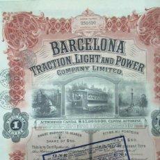 Collezionismo Azioni Spagnole: + TRANVIA BARCELONA. TRACTION LIGHT AND POWER.AÑO 1913 . CON CUPONES FERROCARRIL. ACCION TZ. Lote 234174555