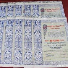 Coleccionismo Acciones Españolas: COLECCIÓN DE 10 ACCIONES ESPAÑOLAS - SOCIEDAD HULLERA ESPAÑOLA DE MINAS - 1955 - SALIDA 1,00€. Lote 234451995