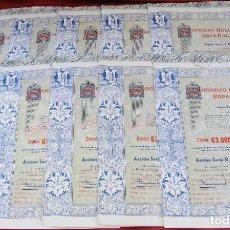 Coleccionismo Acciones Españolas: COLECCIÓN DE 10 ACCIONES ESPAÑOLAS - SOCIEDAD HULLERA ESPAÑOLA DE MINAS - 1951 - SALIDA 1,00€. Lote 234453970
