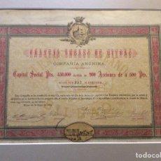 Coleccionismo Acciones Españolas: ACCIÓN ORIGINAL DEL TRANVÍA URBANO DE BILBAO ORIGINAL 1884 ,CON PASSEPARTOUT. Lote 234687800