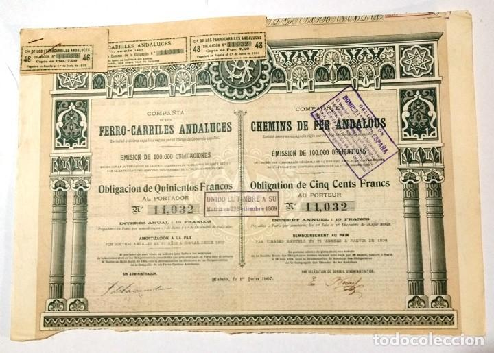 COMPAÑÍA DE LOS FERRO-CARRILES ANDALUCES (Coleccionismo - Acciones Españolas)