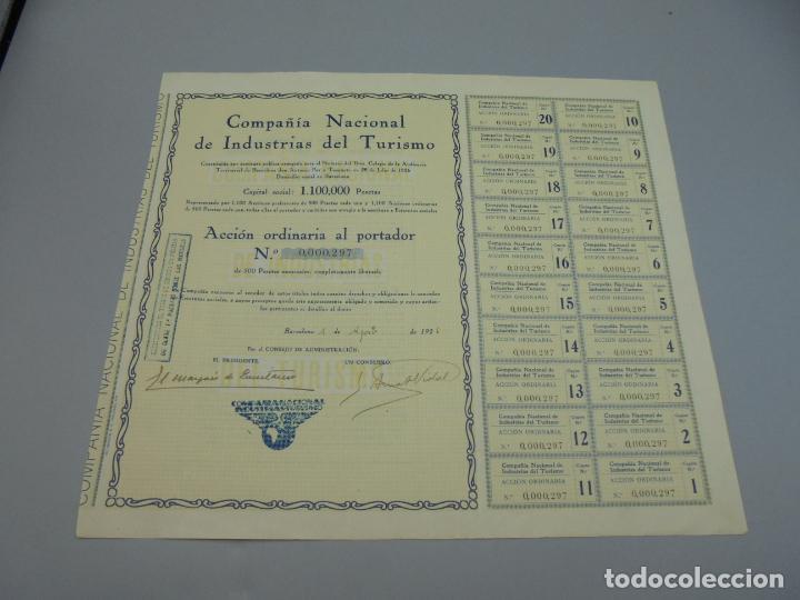 ACCIÓN. COMPAÑIA NACIONAL DE INDUSTRIAS DEL TURISMO. 1926. BARCELONA. VER (Coleccionismo - Acciones Españolas)