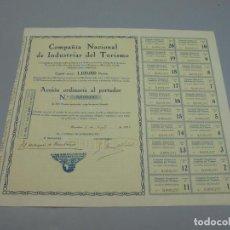 Coleccionismo Acciones Españolas: ACCIÓN. COMPAÑIA NACIONAL DE INDUSTRIAS DEL TURISMO. 1926. BARCELONA. VER. Lote 234861750
