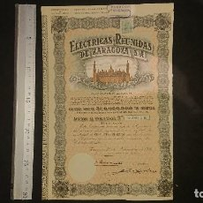 Collezionismo Azioni Spagnole: ANTIGUA ACCION ELECTRICAS REUNIDAS DE ZARAGOZA 1946 . LEER DESCRIPCION. Lote 235014335