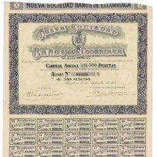 Coleccionismo Acciones Españolas: PAMPLONA.- 1918. NUEVA SOCIEDAD DE BAÑOS ELGORRIAGA.. Lote 235356825