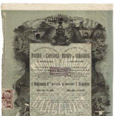 Coleccionismo Acciones Españolas: BARCELONA.- 1886.COMPAÑÍA DE LOS FERROCARRILES DIRECTOS DE MADRID Y ZARAGOZA. TÍTULO 5 OBLIGACIONES.. Lote 235365210