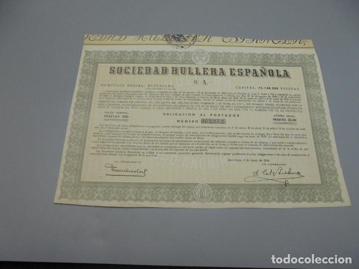 ACCIÓN. SOCIEDAD HULLERA ESPAÑOLA. 1954. BARCELONA. (Coleccionismo - Acciones Españolas)