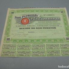 Coleccionismo Acciones Españolas: ACCIÓN. SAN FERNANDO Y LA ESPERANZA. SOCIEDAD ANÓNIMA MINERA. 1908. MADRID. Lote 235647670