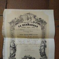Coleccionismo Acciones Españolas: LA HERMANDAD, SOCIEDAD MINERA Y FABRIL. PROVINCIA DE NAVARRA. 1856. Lote 235946110