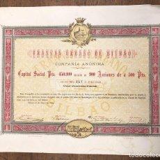 Coleccionismo Acciones Españolas: ACCION TRANVIA URBANO DE BILBAO. AÑO 1884. ACCION Nº 247 AL PORTADOR. Lote 236124680