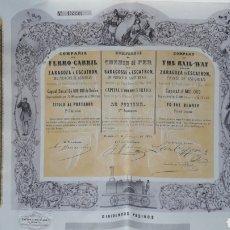 Coleccionismo Acciones Españolas: COMPAÑÍA DEL FERRO-CARRIL DE ZARAGOZA A ESCATRÓN DEL PRÍNCIPE DE ASTURIAS (1865). Lote 236145965