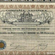 Coleccionismo Acciones Españolas: COMPAÑÍA ESPAÑOLA DE MINAS DEL RIF. Lote 161164910