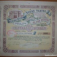 Coleccionismo Acciones Españolas: ACCIÓN SOCIEDAD ANÓNIMA NUEVO TEATRO. ZAMORA (CASTILLA Y LEÓN). 1915. Lote 236922425