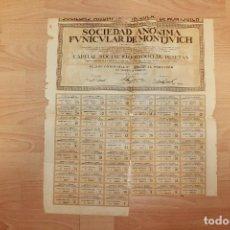 Coleccionismo Acciones Españolas: ACCIÓN FUNICULAR DE MONTJUICH, 1928. Lote 236997395