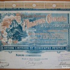 Colecionismo Ações Espanholas: COMPAÑÍA MADRILEÑA DE ALMACENES GENERALES DE DEPÓSITOS Y TRANSPORTES. MADRID. 1906. Lote 237103485