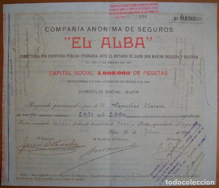 COMPAÑÍA DE SEGUROS EL ALBA. GIJÓN (ASTURIAS). 1901 (Coleccionismo - Acciones Españolas)
