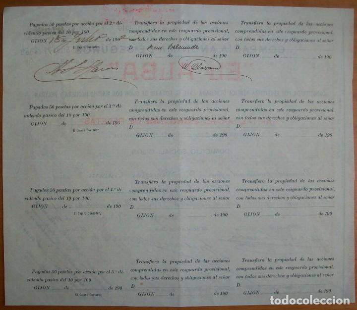Coleccionismo Acciones Españolas: Compañía de seguros El Alba. Gijón (Asturias). 1901 - Foto 2 - 237316685
