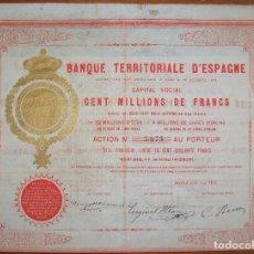 Coleccionismo Acciones Españolas: BANQUE TERRITORIALE D´ESPAGNE. MADRID. 1872. Lote 237694835