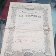 Coleccionismo Acciones Españolas: ANTIGUA ACCION SOCIEDAD ESPECIAL MINERA LA VICTORIA MURCIA S XIX 1860. Lote 239971540