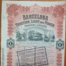Colecionismo Ações Espanholas: BARCELONA TRACTION, LIGHT AND POWER. COMPANY LIMITED. 1923. Lote 240011810