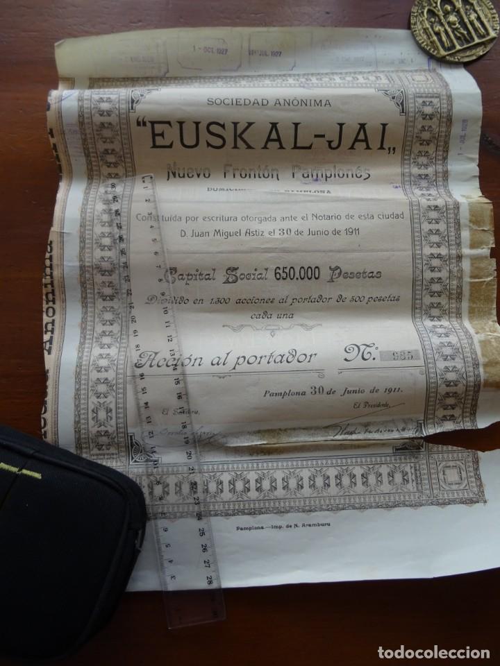 EUSKAL JAI, NUEVO FRONTÓN, PAMPLONA 1911 (Coleccionismo - Acciones Españolas)
