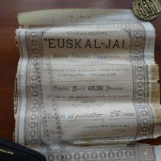 Coleccionismo Acciones Españolas: EUSKAL JAI, NUEVO FRONTÓN, PAMPLONA 1911. Lote 241479325