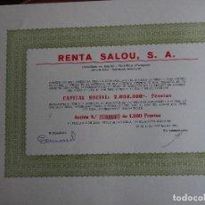 Coleccionismo Acciones Españolas: ACCIÓN RENTA SALOU, S.A. VILASECA REUS TARRAGONA 1976. Lote 260793885