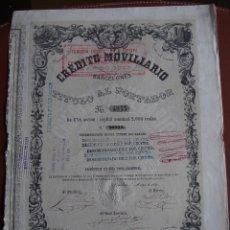 Collectionnisme Actions Espagne: ACCIÓN CRÉDITO MOVILIARIO BARCELONÉS 1857 BANCA MOBILIARIO. Lote 244818280
