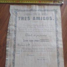 Coleccionismo Acciones Españolas: JML ACCION MINAS SOCIEDAD ESPECIAL MINERA TRES AMIGOS, CASTUERA, BADAJOZ. CARTAGENA 1877. 22X31 CM.. Lote 245354750