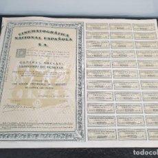 Coleccionismo Acciones Españolas: ACCIÓN CINEMATOGRÁFICA NACIONAL ESPAÑOLA S.A.. TÍTULO DE UNA ACCIÓN ORDINARIA N⁰. 023415. Lote 245425840