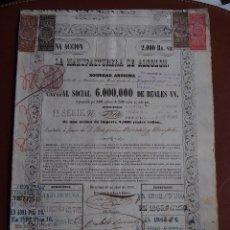 Coleccionismo Acciones Españolas: ACCIÓN LA MANUFACTURA DE ALGODÓN 1855 VAPOR VELL REUS VER DESCRIPCIÓN. Lote 245446935