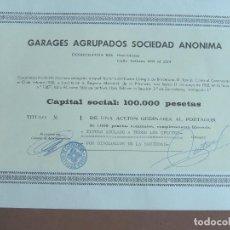 Coleccionismo Acciones Españolas: ACCIÓN GARAGES AGRUPADOS BARCELONA 1968. Lote 245451495