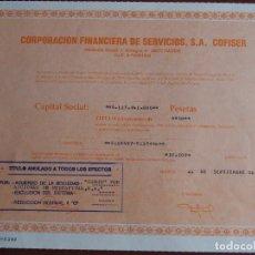 Coleccionismo Acciones Españolas: ACCIÓN CORPORACIÓN FINANCIERA DE SERVICIOS S.A. COFISER MADRID 1990. Lote 245453610