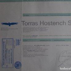 Coleccionismo Acciones Españolas: ACCIÓN TORRAS HOSTENCH 1988 PAPELERA. Lote 245453805