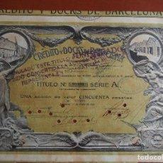 Coleccionismo Acciones Españolas: ACCIÓN CRÉDITO Y DOCKS DE BARCELONA 1919 BANCOS. Lote 245563375