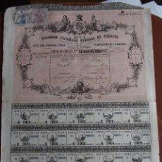 Coleccionismo Acciones Españolas: ACCIÓN SOCIEDAD ESPAÑOLA GENERAL DE CRÉDITO 1864 MADRID BANCA PRECIOSO DISEÑO CUPONES. Lote 245564260
