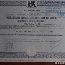 Coleccionismo Acciones Españolas: ACCIÓN INVERSIONISTAS BURSATILES REUNIDOS, INBURESA - MADRID 1988. Lote 246135890
