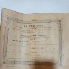 Coleccionismo Acciones Españolas: ANTIGUO TITULO DE ACCIONES LA PREVISORA CAPITAL 100PTAS. Lote 246317430