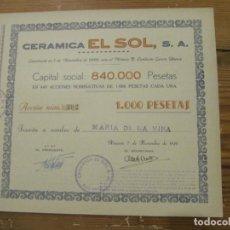Coleccionismo Acciones Españolas: ACCION CERAMICA EL SOL S.A. - 1.000 PESETAS - ALICANTE 7 DE NOVIEMBRE DE 1949. Lote 246539225