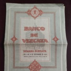 Coleccionismo Acciones Españolas: BANCO DE VIZCAYA - SEMANA BURSATIL DEL 8 AL 11 SEPTIEMBRE 1953 3P+1P. 21X15. Lote 246910885
