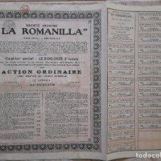 Coleccionismo Acciones Españolas: ACCION MINA DE PLOMO LA ROMANILLA VALLE DE ALCUDIA CIUDAD REAL. COLOR BEIGE TODOS LOS CUPONES. Lote 249477175