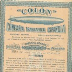 Collezionismo Azioni Spagnole: COLÓN. COMPAÑÍA TRANSAÉREA ESPAÑOLA 1928.. Lote 250332465