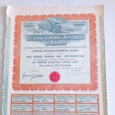 Coleccionismo Acciones Españolas: ANTIGUO TITULO DE ACCIONES SOCIEDAD GENERAL DE AUTOBUSES DE MADRID 1922. Lote 251641835