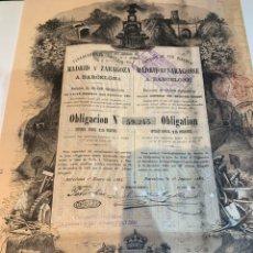 Coleccionismo Acciones Españolas: ACCIÓN FERROCARRILES DIRECTOS MADRID Y ZARAGOZA A BARCELONA 1883. Lote 252555110