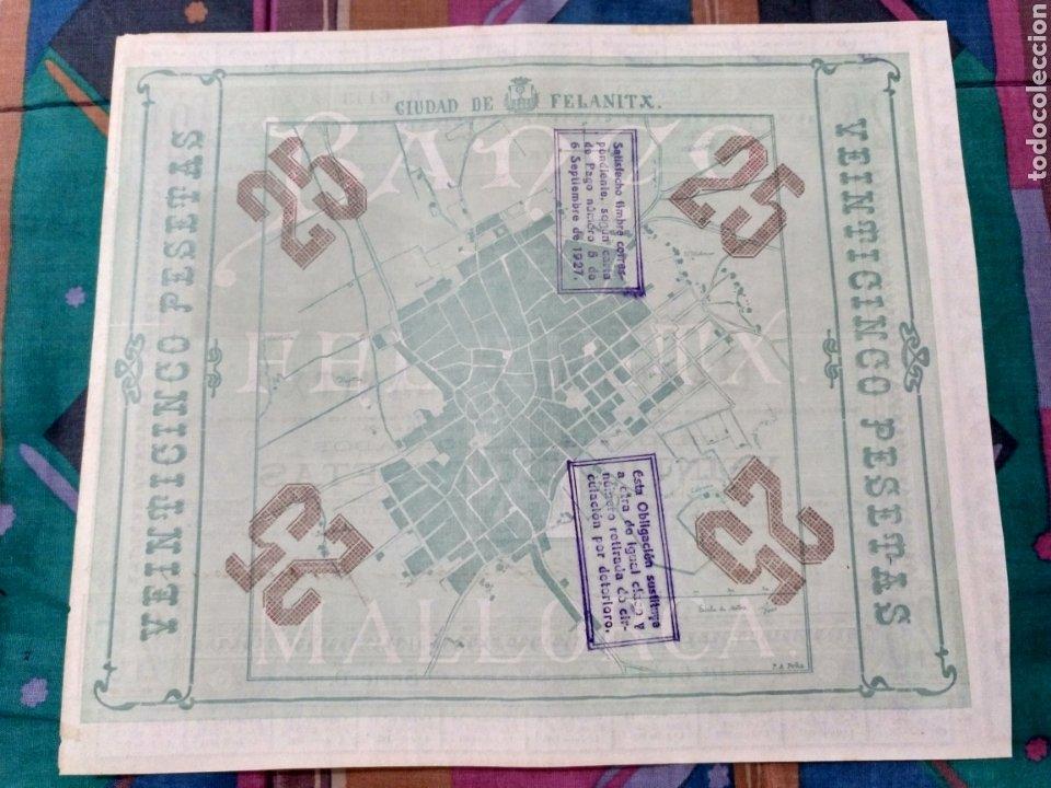 Coleccionismo Acciones Españolas: RARA OBLIGACION 25 PTAS. 1927 BANCO DE FELANITX MALLORCA CIRCULO COMO VALOR MONETAL Nº6143 - Foto 2 - 252857465